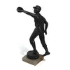 Antique solid spelter baseball outfielder statue with alabaster base. 3/4 side.