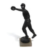 Antique solid spelter baseball outfielder statue with alabaster base.