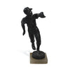 Antique solid spelter baseball outfielder statue with alabaster base. side.
