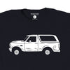 Spikes High t-shirt featuring the white Bronco from the OJ Simpson chase, detail