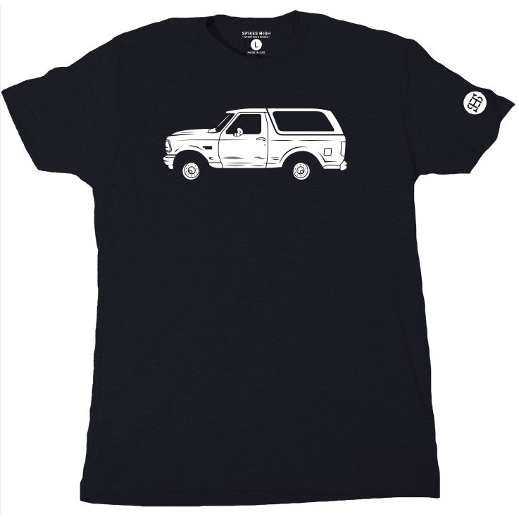 Spikes High t-shirt featuring the white Bronco from the OJ Simpson chase
