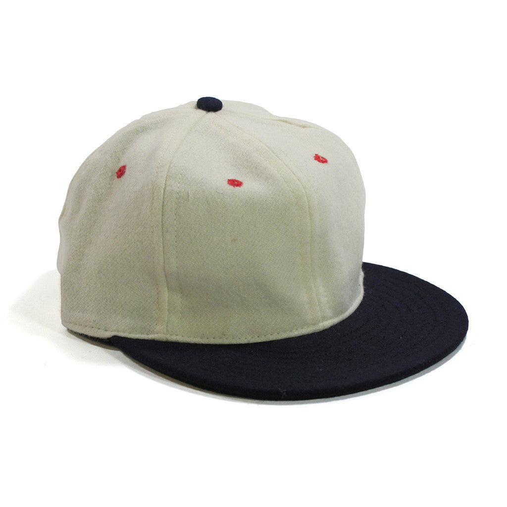 Made in USA Adjustable White and Navy Contrast Wool Ball Cap by Cooperstown Cap Co for Spikes High