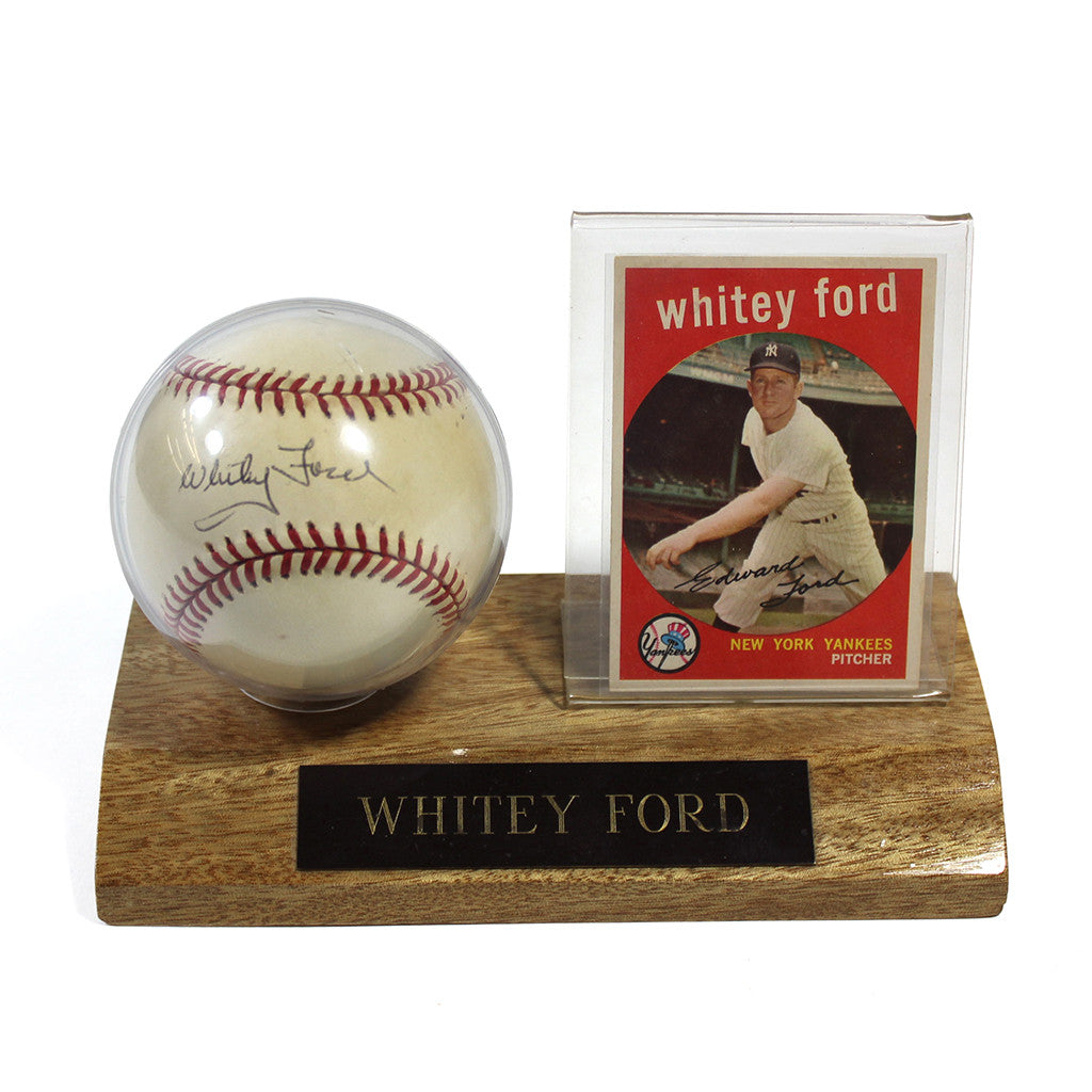 Whitey Ford Signed Ball and 1959 Topps Baseball Card in Vintage Display