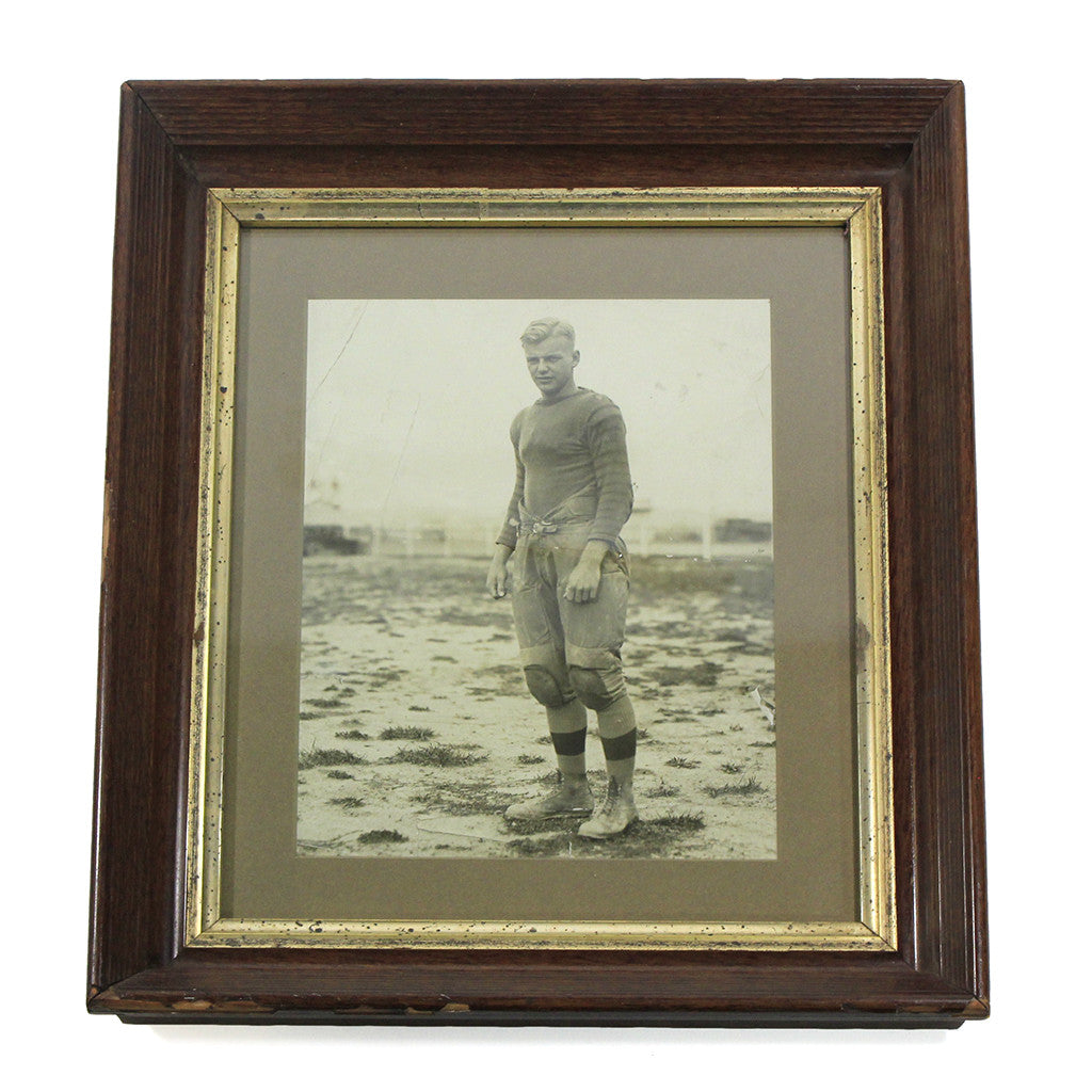 Vintage Framed Football Player Portrait
