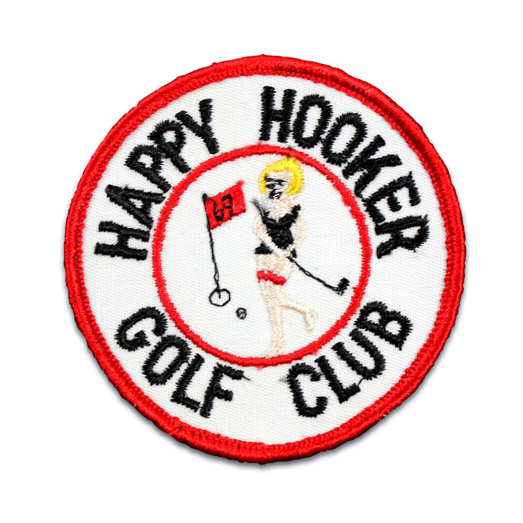 Vintage Happy Hookers Golf Club patch with measurements