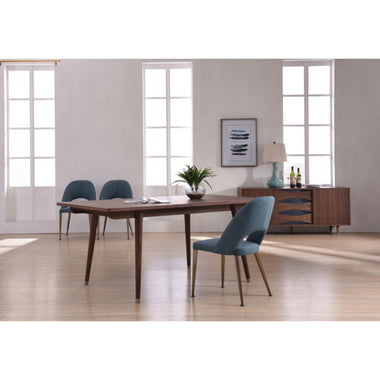 Compact Sized Wooden Rectangular Dining Table with Drawer, Brown