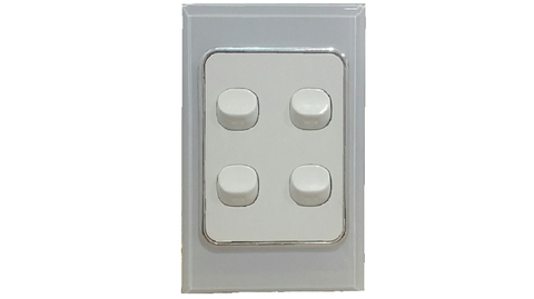 HEM CRYSTAL QUAD LIGHT SWITCH WHITE ON WHITE