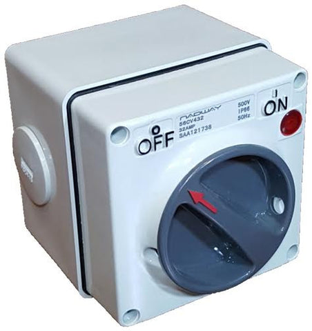 IP56 20A 3 POLE SWITCH (with back box)