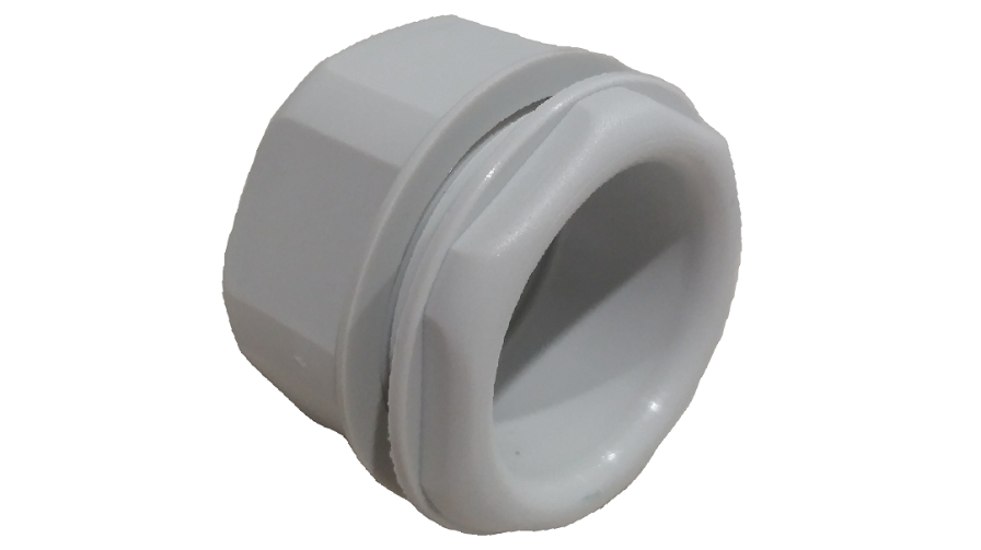 PLASTIC THREADED BUSH & LOCKNUT 20MM