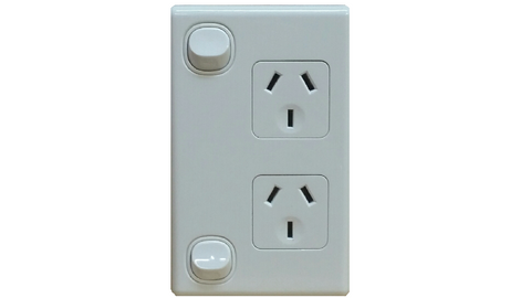 DOUBLE VERTICAL OUTLET WHITE