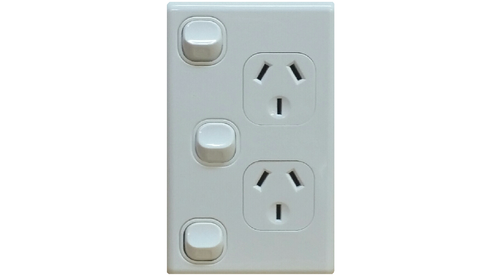 DOUBLE VERTICAL OUTLET + EXTRA SWITCH