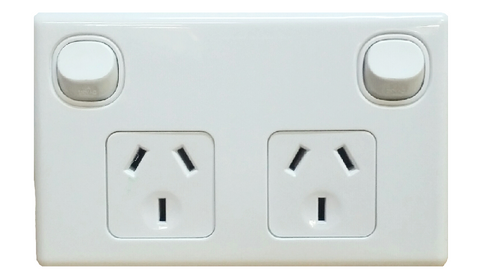 DOUBLE HORIZONTAL OUTLET WHITE