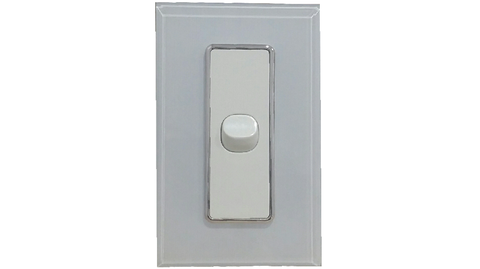 HEM CRYSTAL SINGLE LIGHT SWITCH WHITE ON WHITE