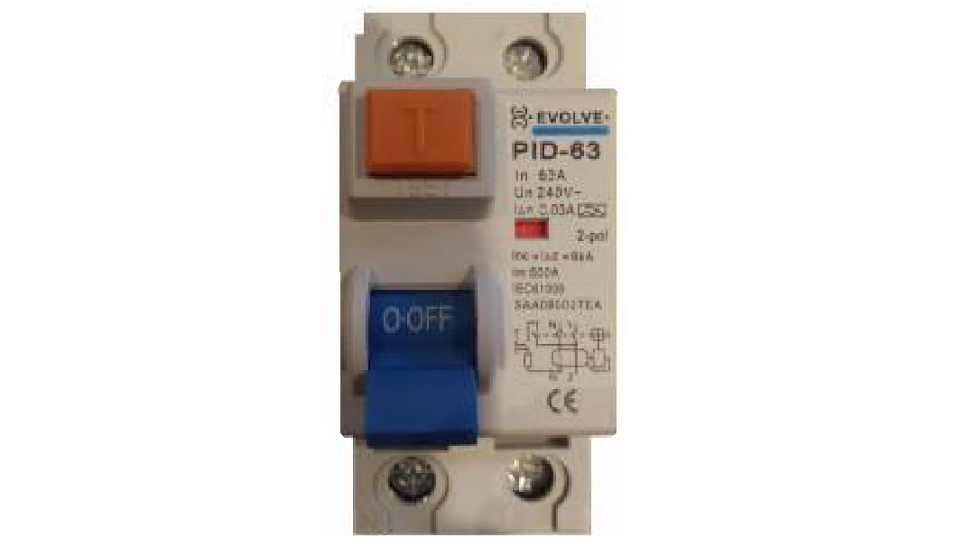 EVOLVE 63A 2P RCD - TYPE A