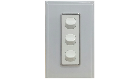HEM CRYSTAL TRIPLE LIGHT SWITCH WHITE ON WHITE