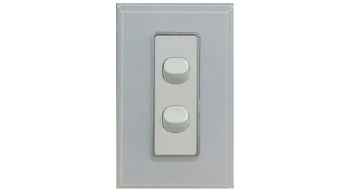HEM CRYSTAL DOUBLE LIGHT SWITCH WHITE ON WHITE