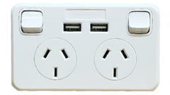 DOUBLE HORIZONTAL OUTLET WITH TWIN USB