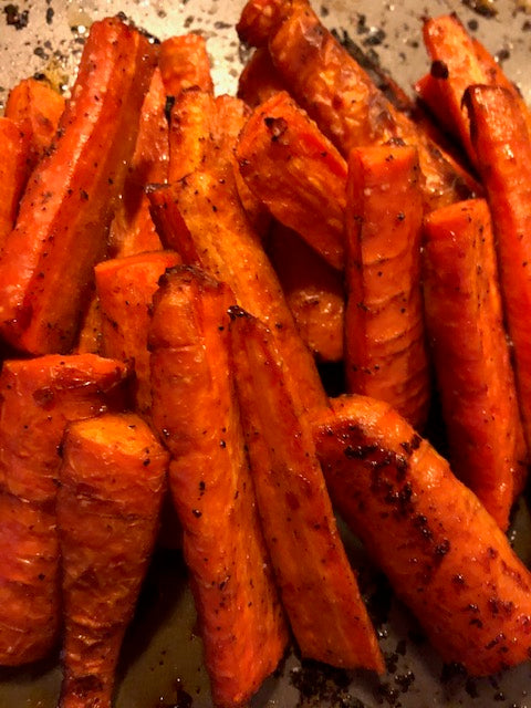 Roasted Carrots with Hummus