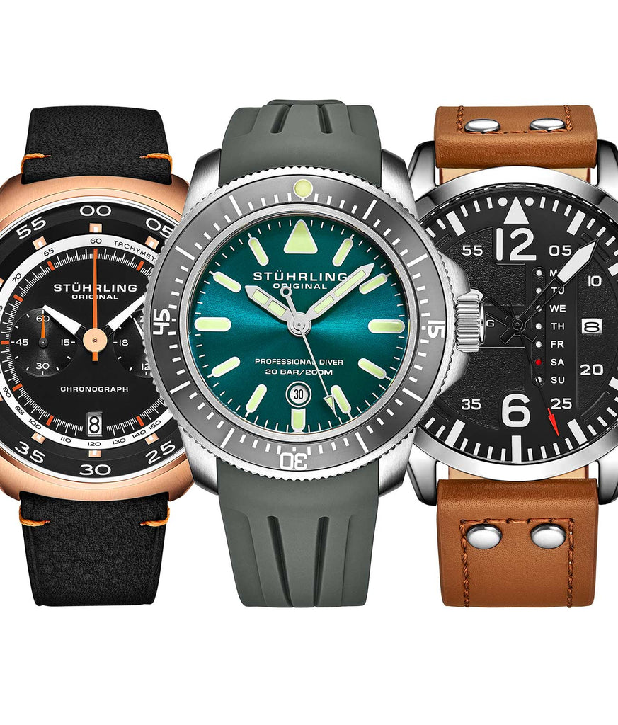 Triple Set of Quartz Sport Watches Allows You to Tackle the Air, Land and Sea, Paired with a 10 slot Traveling Watch Case