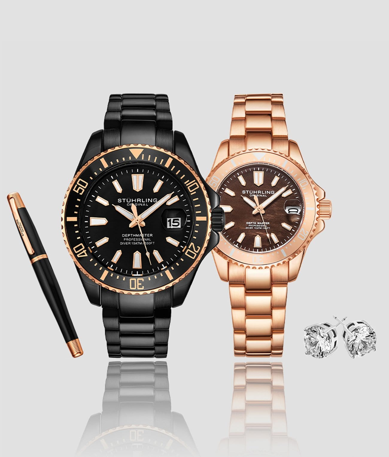 Aquadiver Depthmaster Couple Set with Free Signature Pen and Stud Earrings