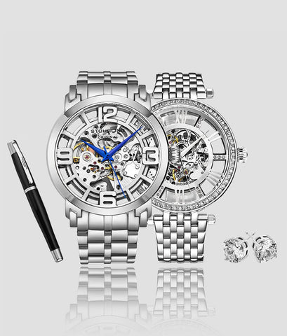 Hyper-stylized men's Winchester Automatic Skeleton paired with a women's Delphi Automatic Skeleton, accompanied with a Free Signature Pen and Stud Earrings