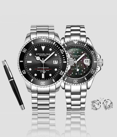 Classic Couple Diver Set with Free Signature Pen and  Stud Earring