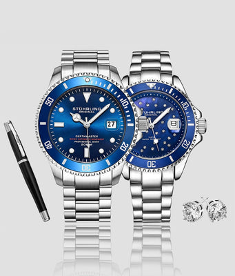 Deep Blue Divers Trio with Signature Pen and Stud Earring is $127 (34% off)