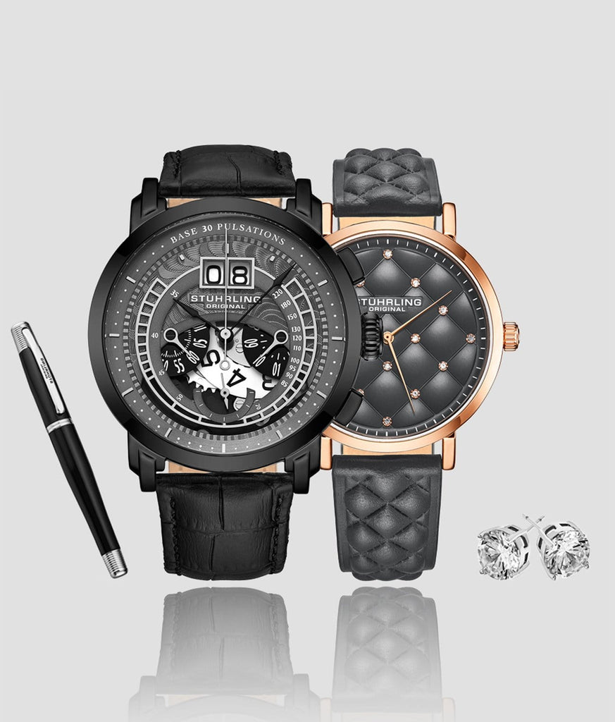 Fashion Time Quartz Set with Free Signature Pen and Stud Earring