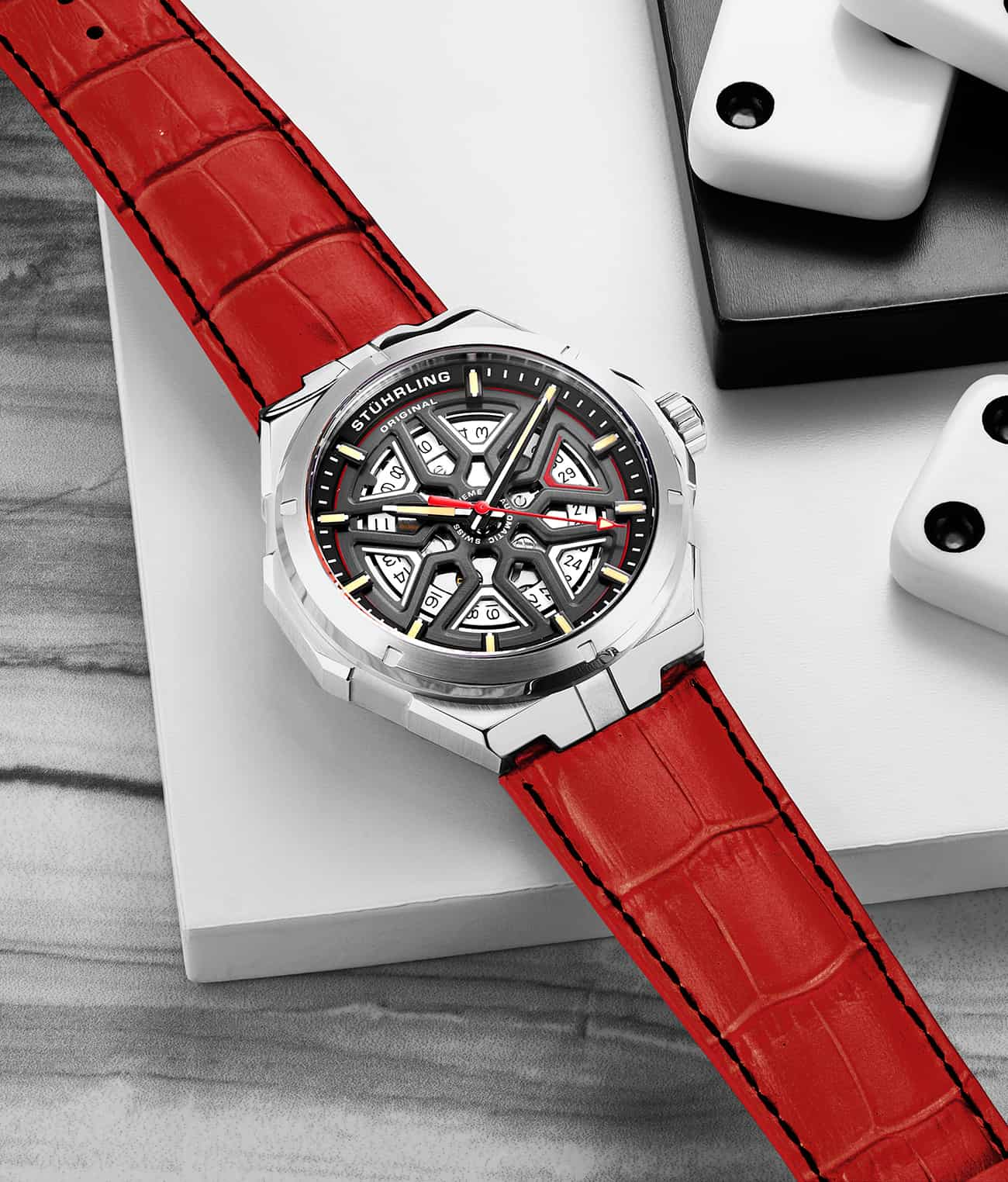 Black Dial / Silver Case / Red Band