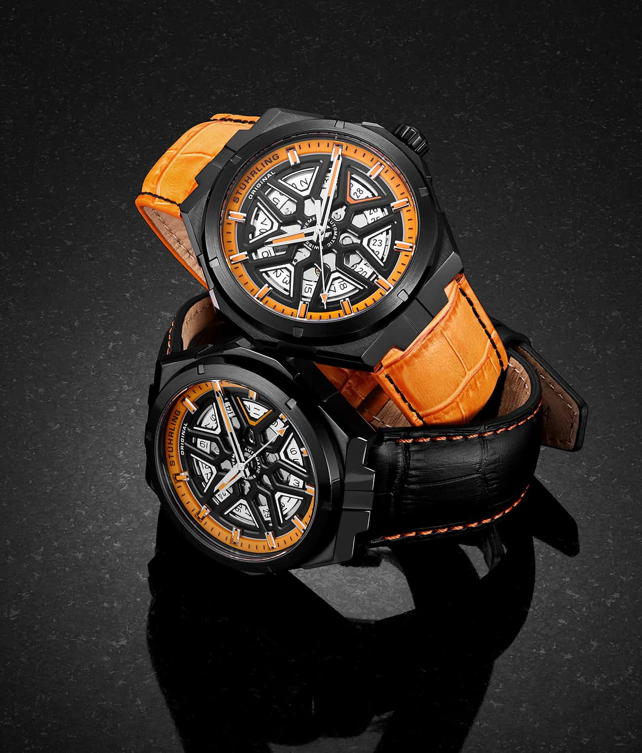 Orange Dial / Black Case / Black Band