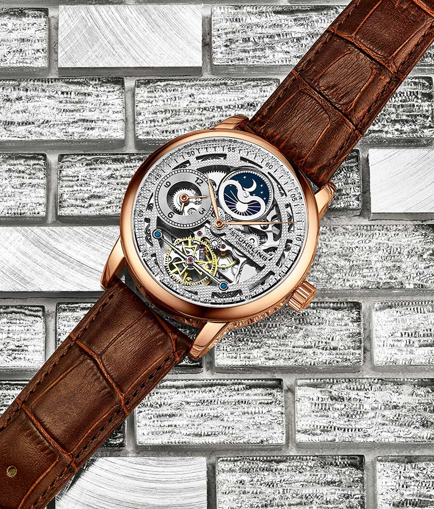 Silver Dial / Rose Case / Brown Band
