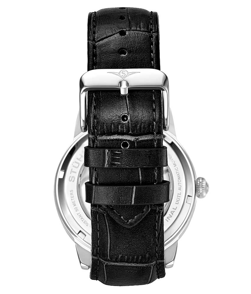 Silver Dial / Silver Case / Black Leather Strap Silver Tang Buckle