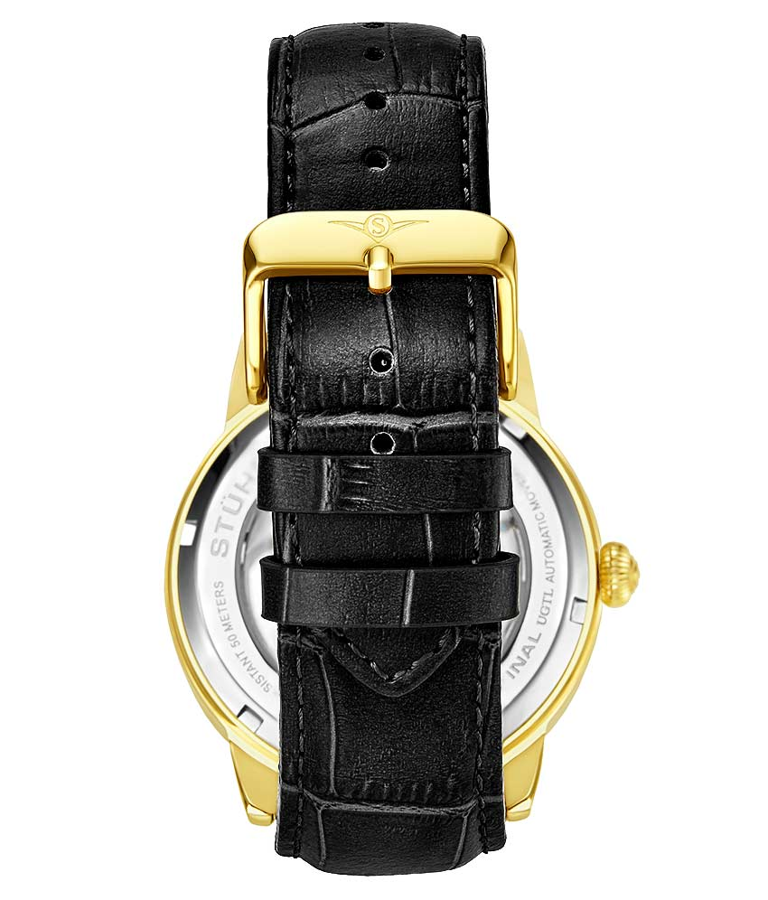 Silver Dial / Gold Case / Black Leather Strap Gold Layered Tang Buckle
