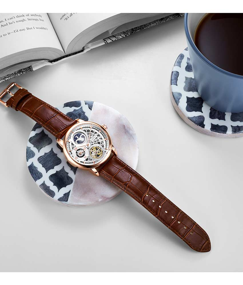 Silver Dial / Rose Case / Brown Leather Strap Rose Gold Layered Tang Buckle