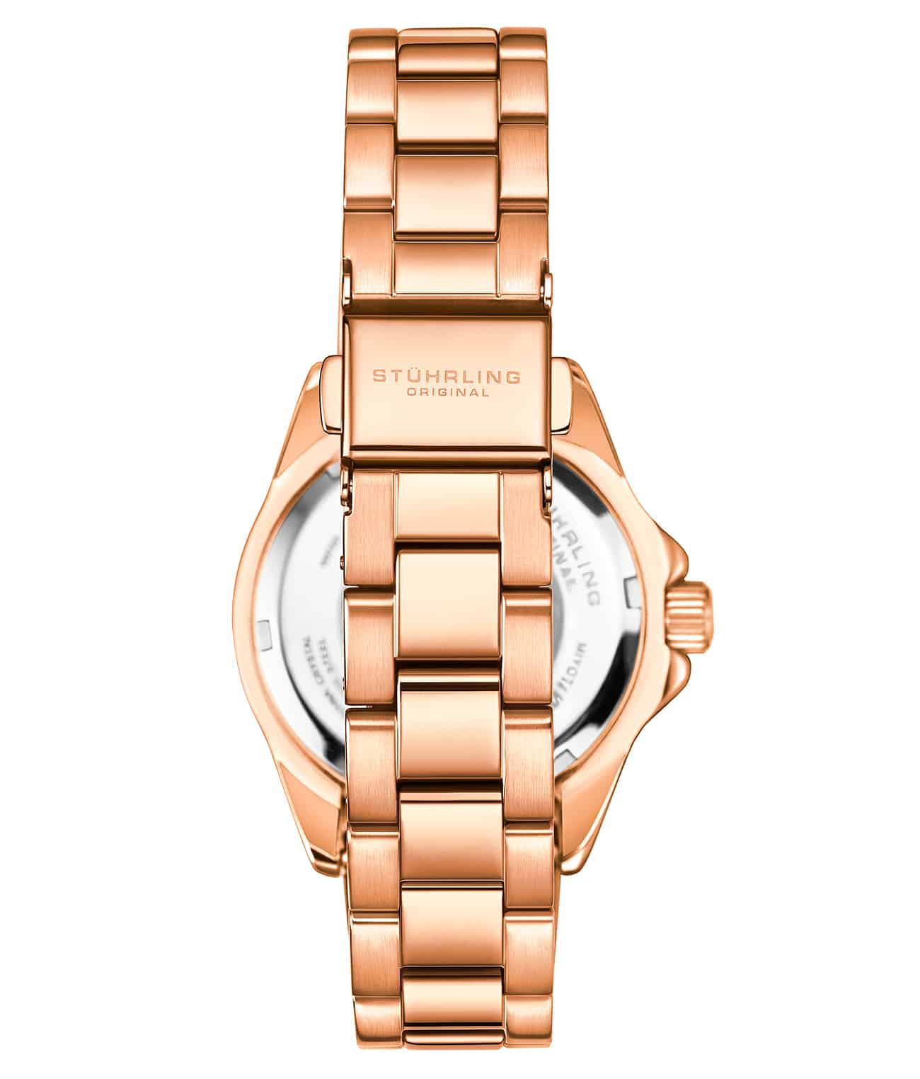 Black Dial / Rose Case / Rose Stainless Steel Bracelet Rose Gold Layered Deployant Buckle
