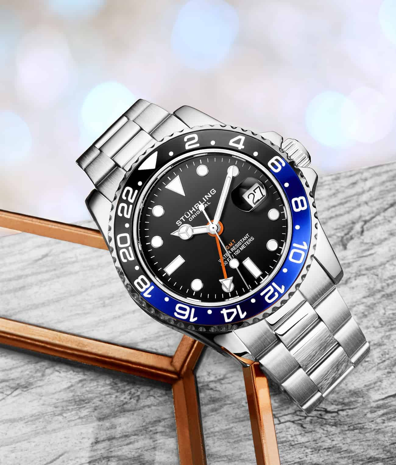 Diver + Dress Watch Set with Free Signature Pen and Stud Earring