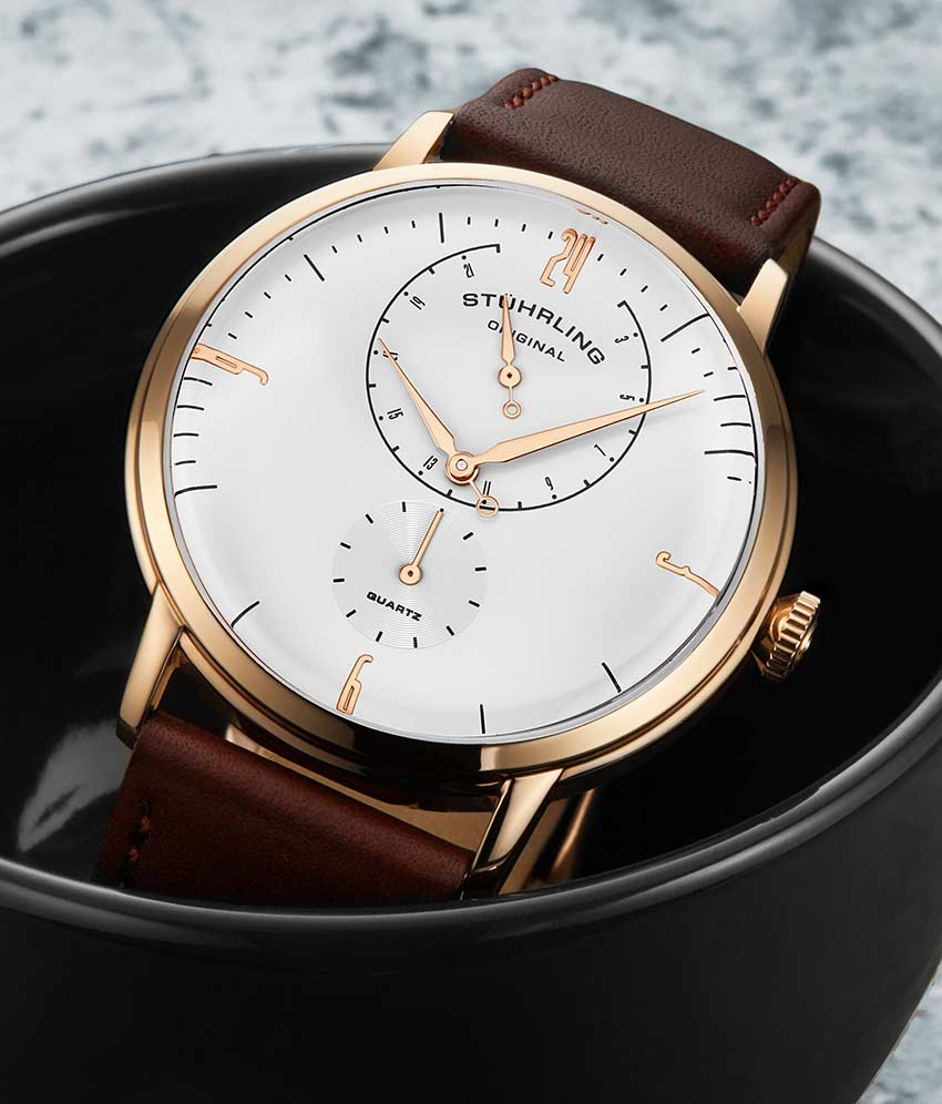 White Dial / Rose Case / Brown Band