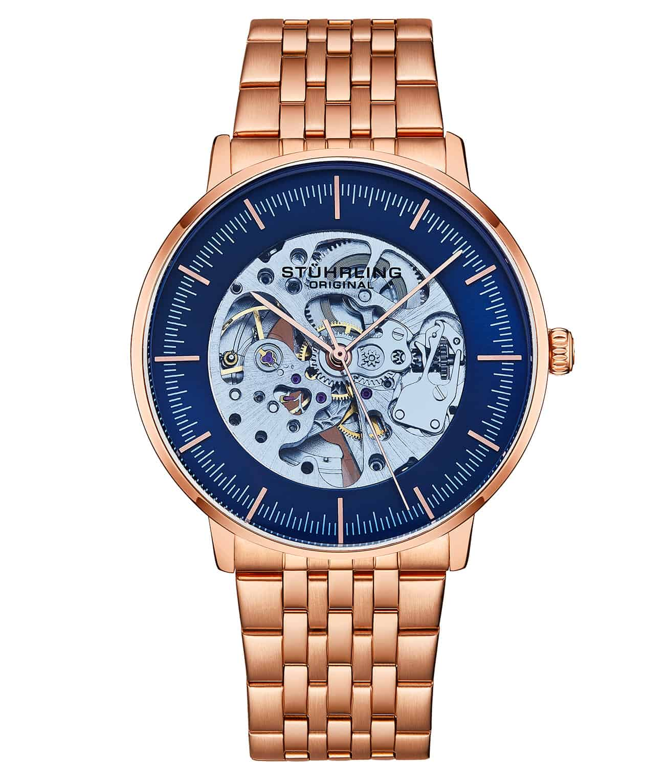 Blue Dial / Rose Case / Rose Stainless Steel Bracelet Rose Gold Layered Deployant Buckle