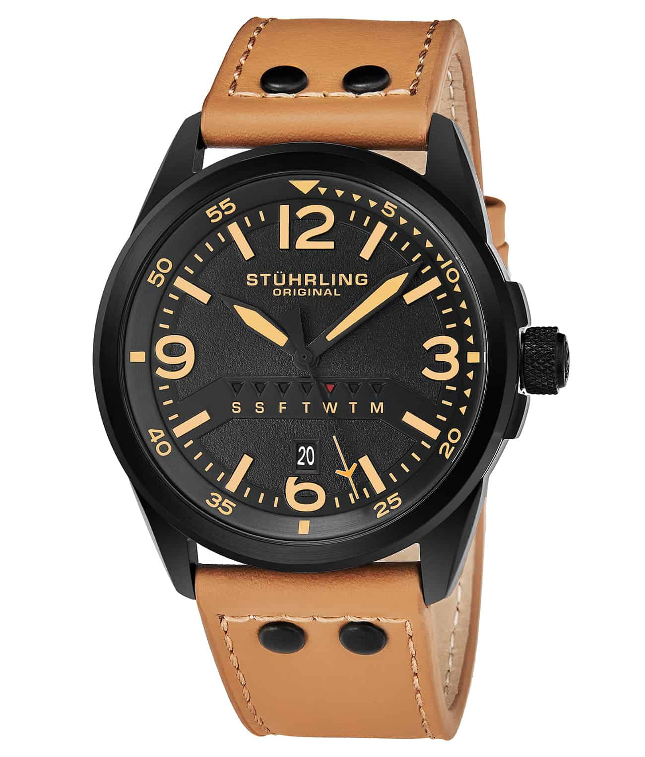 Black Dial / Black Case / Tan Leather Strap Tang Buckle