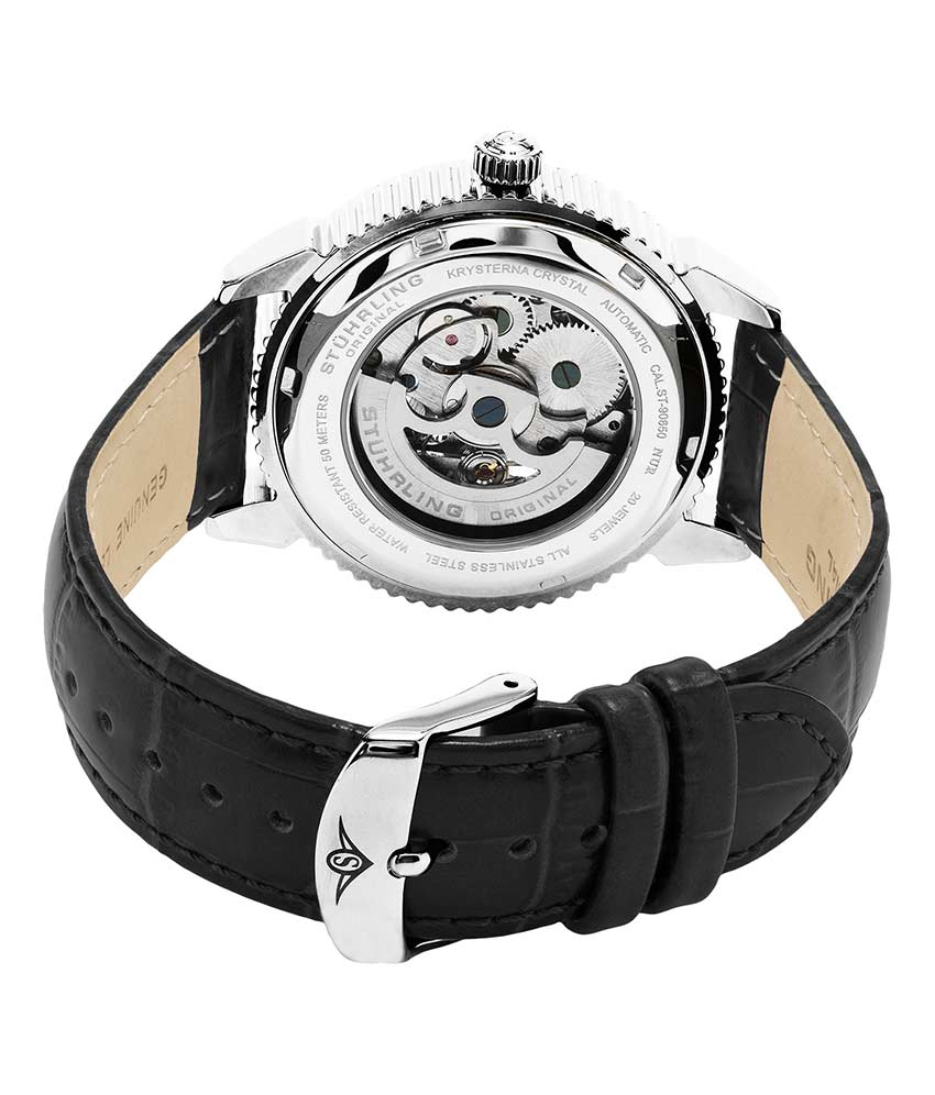 Black Dial / Silver Case / Black Leather Strap Tang Buckle