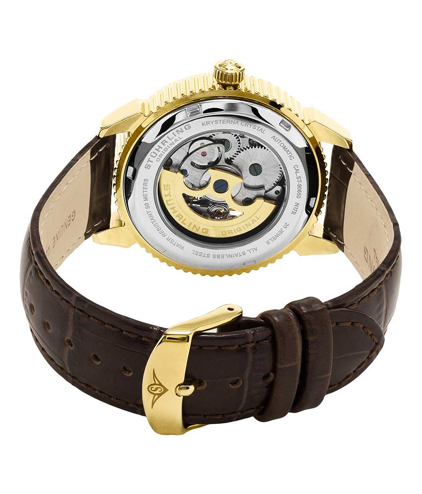 Silver Dial / Gold Case / Brown Leather Strap Tang Buckle