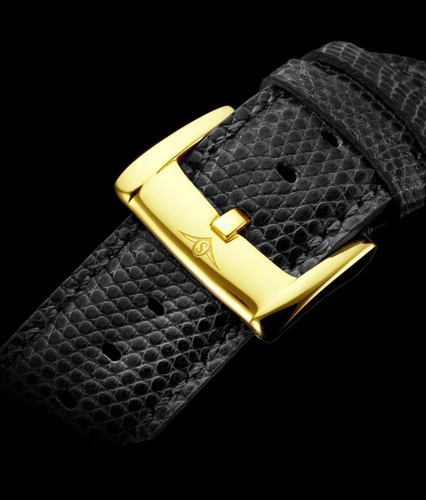 Grey Dial / Gold Case / Black Strap Tang Buckle