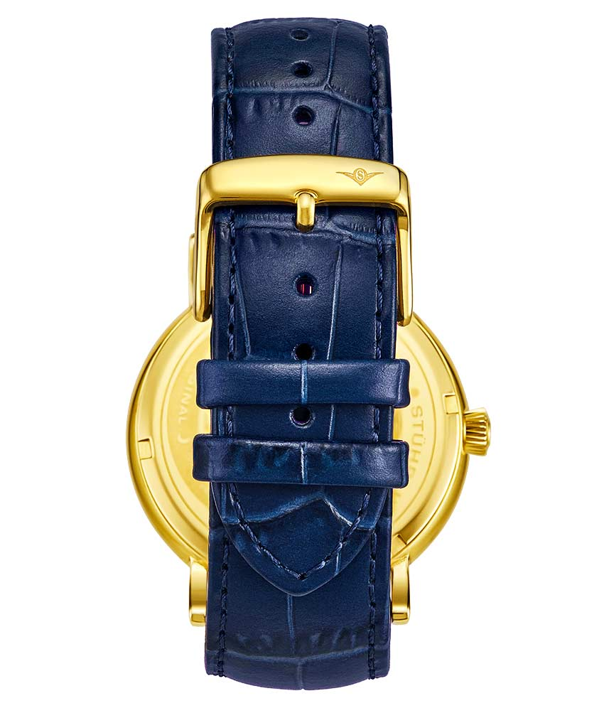 Black Dial / Gold Case / Blue Band