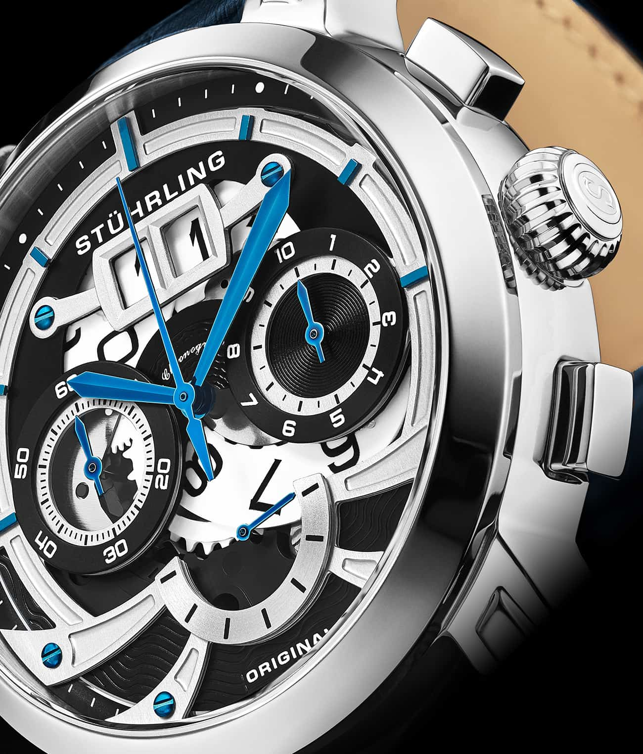Black Dial / Silver Case / Blue Band
