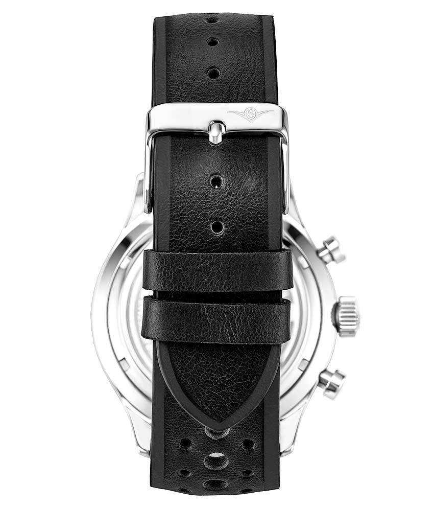 White Dial / Silver Case / Black Leather Strap Silver Tang Buckle
