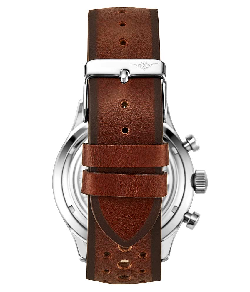 Black Dial / Silver Case / Brown Leather Strap Silver Tang Buckle