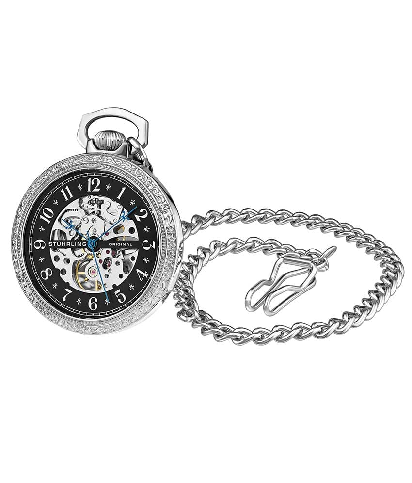 Black Dial / Silver Case / Stainless Steel Pocket Watch