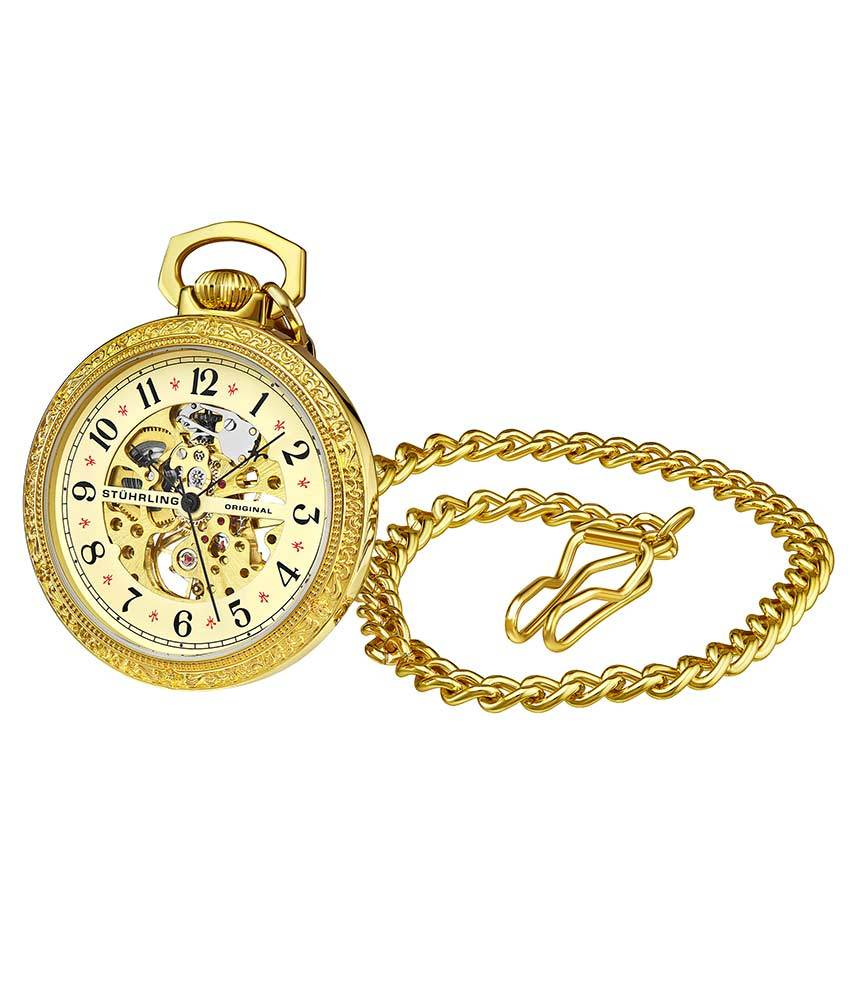 Champagne Dial / Gold Case / Stainless Steel Pocket Watch