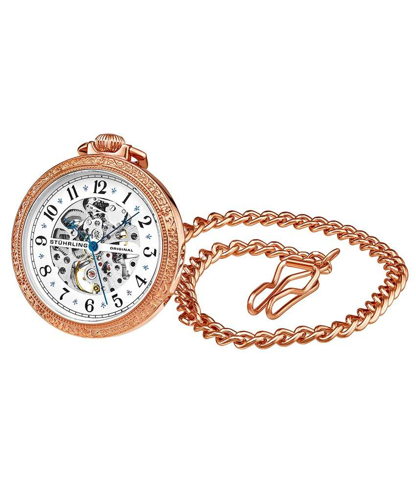 White Dial / Rose Case / Stainless Steel Pocket Watch