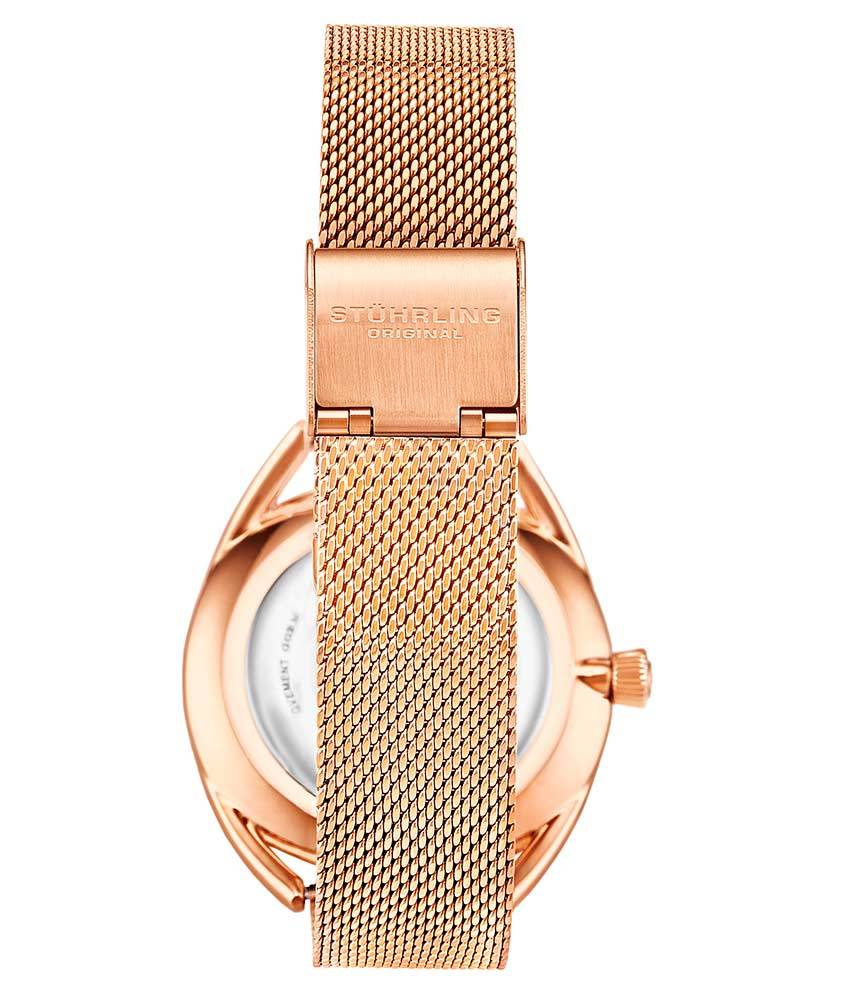White Dial / Rose Case / Rose Stainless Steel Bracelet Rose Gold Layered Foldover Buckle